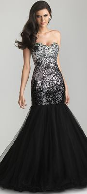 Black Ombre Sequin & Tulle Strapless Mermaid Prom Gown