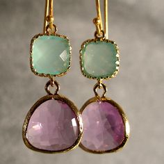 Light Mint and Lavender Glass Gold Bridesmaid Earrings, Bridesmaid Jewelry, Wedding Earrings, Gold Earrings (3589W). $28.00, via Etsy.
