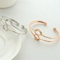 New Arrival Women's Fashion Double Twist Knot Charm Silver Gold Cuff Bracelet Friendship Multi-layer Wristband Bracelet Hand Chain Jewelry Accessories Birthday Gift Trendy Lucky Fine Multi-Layers Bangle Bracelets for Women Korean Style