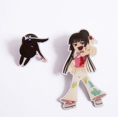 xxxHolic Yuko & Mokona SD Pin Set Popular Manga, Xxxholic, Tokyo Otaku Mode, Mode Shop, Cute Chibi, Metal Pins, Sd, Witch, Fairy
