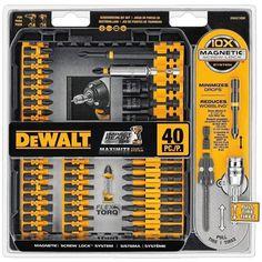 DEWALT 40 piece Impact Ready Screw driving Set is part of the DEWALT Flexor line of power tool accessories. Dewalt Screwdriver, Screwdriver Set, Lock System, Bit Set, Dewalt Tools, Power Tool Accessories, Bench Plans, Drill Driver, Survival Tools