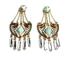 LONG Earrings Studs Chandelier Turquoise Pink Rhinestones Gold Festival Gypsy