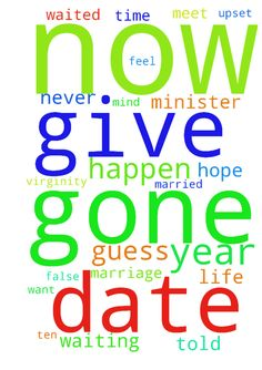 Lied to. -  I was told by a youth minister a long time ago that I would be married by now if I waited until marriage to give away my virginity. Another Pastor told me that if I didnt try to date or ask anyone out for a year that I would meet my spouse with an 3 months. That time has come and gone and I have not made friends with a women, or gone in a date or anything close. I am upset by this. I guess marriage was never in my future to begin with. I give up. I guess I waited for nothing. Why…