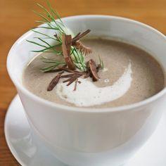 Michel Bras purees this lush mushroom soup with bread toasted to a dark brown to thicken the texture and deepen its flavor. He learned the trick from ...