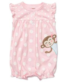 Carters Baby Bodysuit, Baby Girls Polka Dot Shorts Bodysuit - Kids Newborn Shop - Macy's
