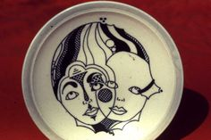 Christy Johnson - Drafting pen with black slip drawing on porcelain plate.