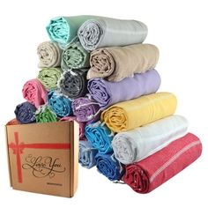 Sale Set of 6 XL Turkish Cotton Bath Towels, In colors: Grey, Light Green, Pink, Blue, Turquoise, Purple. I'd like 2 sets.
