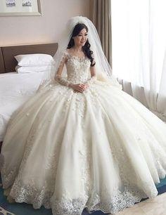 Real Samples Ball Gown Bateau Appliqued Sheer Backless Bridal Dresses vestido de noiva robe de mariage Long Sleeve Wedding Dress