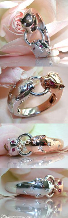 Unusual Diamond Panther Ring in White- and Rosegold 18k | Außergewöhnlicher Brillanten Panther Ring in Weiß- und Roségold 750 | Visit: Schmucktraeume.com