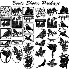 Birds Show Decor - DXF files Cut Ready CNC Designs - DXFforCNC.com,  It is magic elements of your garden and home decor. These files contain collection of 34 wonderful birds from the most popular home birds (hummingbird, cocktail, macaw, lovebirds, owls, cardinal, quail, roadrunners ) illustrated in decorative view and delivered in dxf files cut ready cnc designs. All our dxf designs are ready for most CNC cutting machine and designed to be cut for plasma and laser cutters
