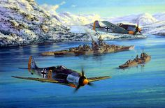 1943 03 11 Noruega Fw190 sobrevuelan el Tirpitz - Antony Saunders On the morning of March 11th 1943, Fw190s from IV./JG5 fly escort to the mighty battleship Tirpitz and a screening fleet of destroyers...