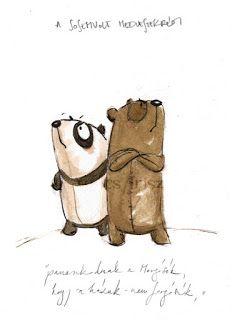 illusztráció Tandori Dezső A Sosemvolt medveszekrény című verséhez Bear Cartoon, Cute Cartoon, Bear Character, Character Design, Childrens Artwork, Children's Book Illustration, Animal Illustrations, Creature Design, Watercolor And Ink