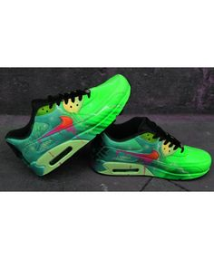huge selection of 41a17 193ab Custom Airbrush Painted Nike Air Max 90 Poison Green Style *UNIKAT*  handpainted Sneaker
