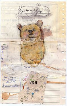 paper, paint, & bear art journal page by die die
