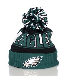 NEW ERA Philadelphia Eagles NFL winter beanie Football Pom pom on top Embroidered team logo on brim Stretch for comfort