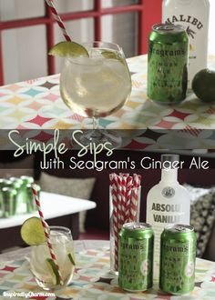 Soda and Coconut Ginger Ale - Two super simple and delicious cocktails made with Seagram's Ginger Ale.Cream Soda and Coconut Ginger Ale - Two super simple and delicious cocktails made with Seagram's Ginger Ale. Party Drinks, Cocktail Drinks, Fun Drinks, Beverages, Holiday Cocktails, Cold Drinks, Cocktail Recipes, Malibu Coconut, Coconut Rum