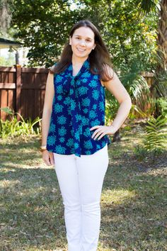 Love the amount of color overall in this fix, but love this shirt in particular. Cute print and colorful! - Sara