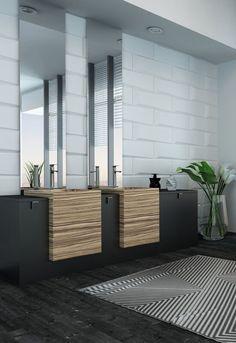 Metrotegels en strakke moderne afwerking in de badkamer