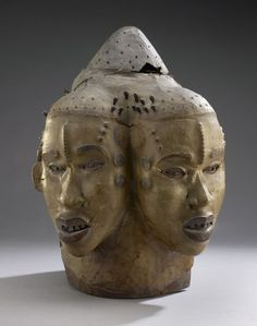 Helmet Mask from the Ejagham peoples of Nigeria, 19th century. Wood, skin, ferrous alloy, polychrome, 72.5 x 25.5 x 13 cm