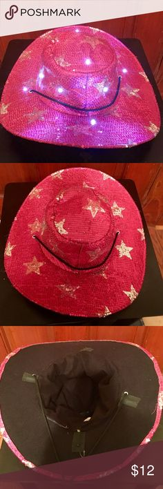 Costume Cowgirl Hat w/Flashing Lights Worn once! No flaws! Pink/silver sequin, lights flash randomly and all work, adjustable chin strap Accessories Hats