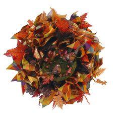 Autumn Ruffle Wreath Tutorial Using Copper Pencil Wreath, Wide Deco Poly Foils, Silk Leaves, Bird Nest Fall Mesh Wreaths, Autumn Wreaths, Christmas Wreaths, Christmas Decorations, Autumn Decorations, Christmas 2014, Seasonal Decor, Wreath Crafts, Burlap Wreath
