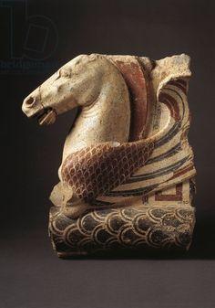 Fictile acroterium (architectural ornament) representing Pegasus (450/430 BC). In Città Del Vaticano, Vatican Museums, Etruscan Museum