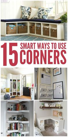 Home Remodeling Hacks I have a lot of corners that could benefit from these hacks! -One Crazy House - Have an odd corner that you just don't know what to do with? We've got you covered! Try these tips on how to use corner space to organize your home. Home Projects, Small House Hacks, Home Remodeling Diy, Home, Corner Space, Home Diy, Small Spaces, Home Hacks, Home Remodeling