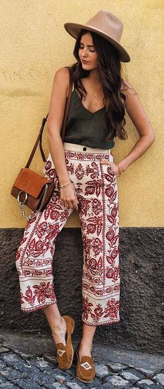 summer boho style perfection hat + top + pants + bag
