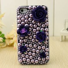 Purple Pearl iPhone 4 Case for girl bling