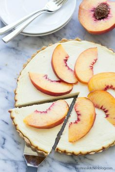 Greek Yogurt Cheesecake Tart with Shortbread Crust & Peaches