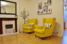 Most Comfortable Office Chair Dining Room Table Chairs, Living Room Chairs, Ikea Chairs, Arm Chairs, Small Space Living Room, New Living Room, Ikea Yellow Chair, Yellow Chairs, Strandmon Ikea