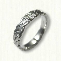 14kt White Gold Celtic Murphy Knot Band - sculpted 7.0 mm wide