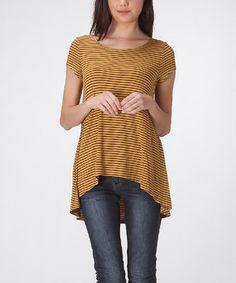 Another great find on #zulily! Mustard Stripe Cap-Sleeve Hi-Low Tee by LARA Fashion #zulilyfinds