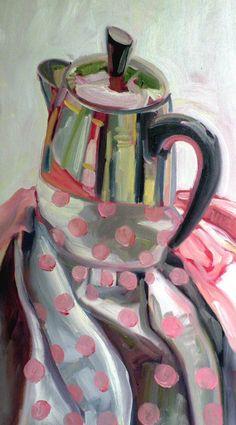 "Pink Polka Percolator, Oil on Panel, 12"" x 24"". © 2011 Jennie Traill Schaeffer."