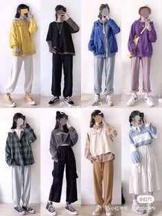 Kpop Fashion Outfits, Blackpink Fashion, Muslim Fashion, 2000s Fashion, Retro Outfits, Simple Outfits, Outfits For Teens, Trendy Outfits, Korean Girl Fashion