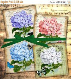 80 % off Winter Sale Shabby Chic Hydrangea Botanical Print Vintage Flowers 3.8 x 3.8 Digital Square Ephemera Images for Coasters Tiles Cards