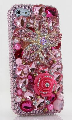 Pink Posies Design 100% handmade bling case for iPhone 5 / 5S. http://luxaddiction.com/collections/3d-designs/products/pink-posies-design-style-390
