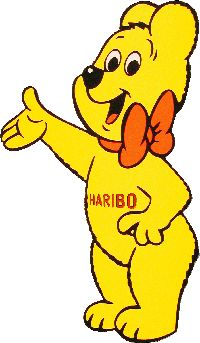 Yellow Haribo Bear saying Looky at my pin to the left :) - gummies cartoon