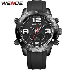 (29.73$)  Know more - http://aihm8.worlditems.win/all/product.php?id=32597707769 - WEIDE Brand Digital Waterproof Sport Watches For Men PU Band Outdoor Analog-Digital Display Quartz Wrist Watch Original Gifts