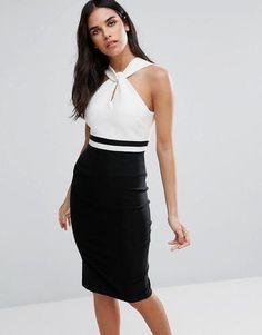 Vesper Monochrome Wrap Front Pencil Dress