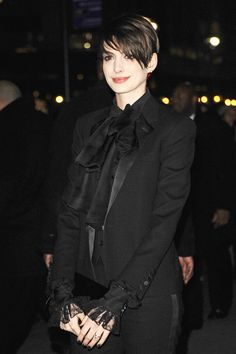 theycrywolfe:    suicideblonde:    Anne Hathaway in Saint Laurent at the National Board of Review Awards in NYC, January 8th    Fab.