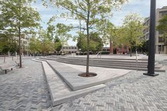 melk's award-winning landscape architecture design for The Jewelry District has become a precedent for streetscape design in historic urban settings. What Is Landscape Architecture, Villa Architecture, Landscape Stairs, Landscape Plans, Urban Landscape, Landscape Design, Campus Plan, Paving Pattern, Parvis