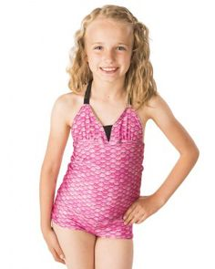 4ff0b99cb5251 Are you a pink swimsuit kind of girl? Shop Fin Fun's Malibu Pink mermaid  tankini set for kids and adults flowing with scales of hot pink and purple!
