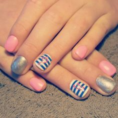 Nails pink blue white silver music note