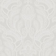 "Norwall Wallcoverings Inc VIntage Damask 32.7' x 20.5"" Paisley with Linen Wallpaper Color: White Opaque"