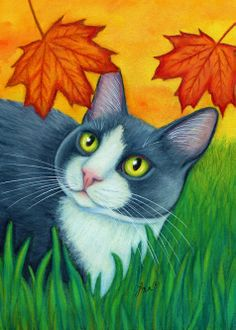 """Tuxedo Cat and Falling Leaves"" par Lisa Nelson"