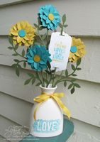 Stampin up Blendabilties ceramic vase project  with Flower Frenzy die flowers by Song of My Heart Stampers