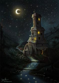 The mill is dark with only a crescent moon
