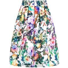 Yoins Multi Color High- Rise Waist Floral Print Full Skirt  One Size ($18) ❤ liked on Polyvore featuring skirts, black, high waisted knee length skirt, colorful skirts, floral skirt, floral print skirt and multi color skirt