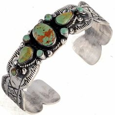 Old Pawn Style Turquoise Cuff Scalloped Silver Bracelet
